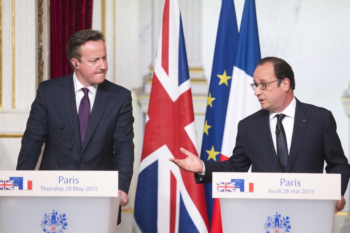 David Cameron a Francois Hollande