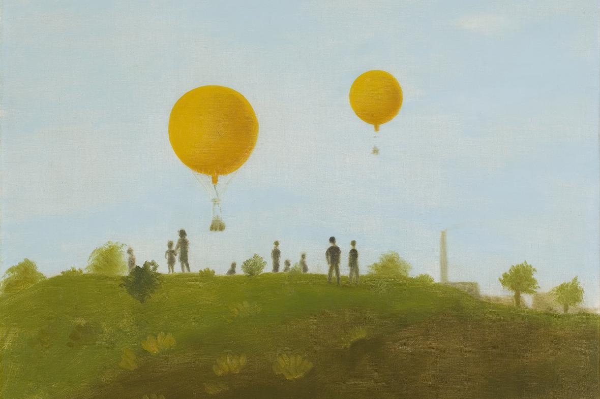 Kamil Lhoták / Dva balony nad Bohdalcem, olej na plátně, 1939