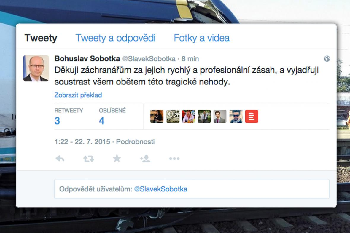 Tweet Bohuslava Sobotky