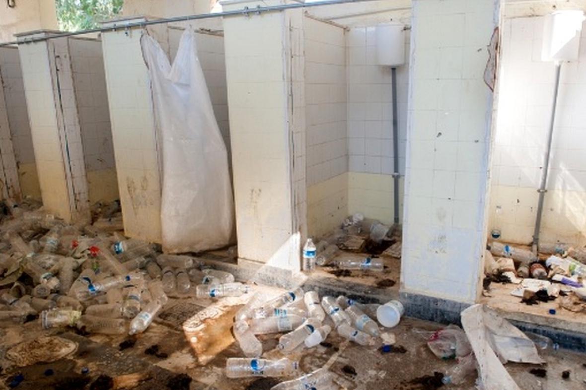Sprchy v táboře Moria na Lesbu