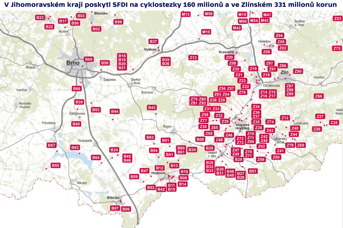 V Jihomoravském kraji poskytl SFDI na cyklostezky 160 milionů a ve Zlínském 331 milionů korun