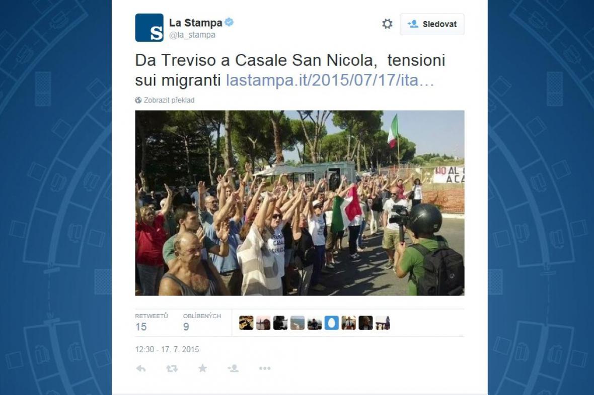 Protesty proti migrantům v Itálii