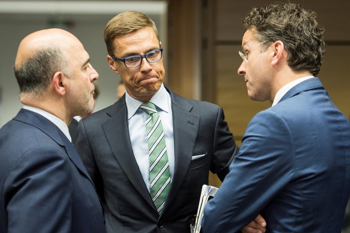 Pierre Moscovici, Alexander Stubb a Jeroen Dijsselbloem