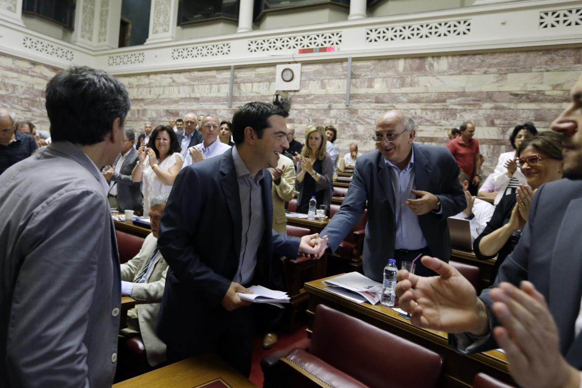 Řecký premiér v parlamentu