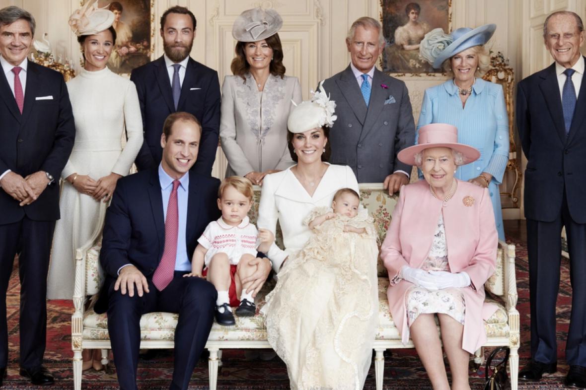 Snímek rodiny po křtu Charlotty
