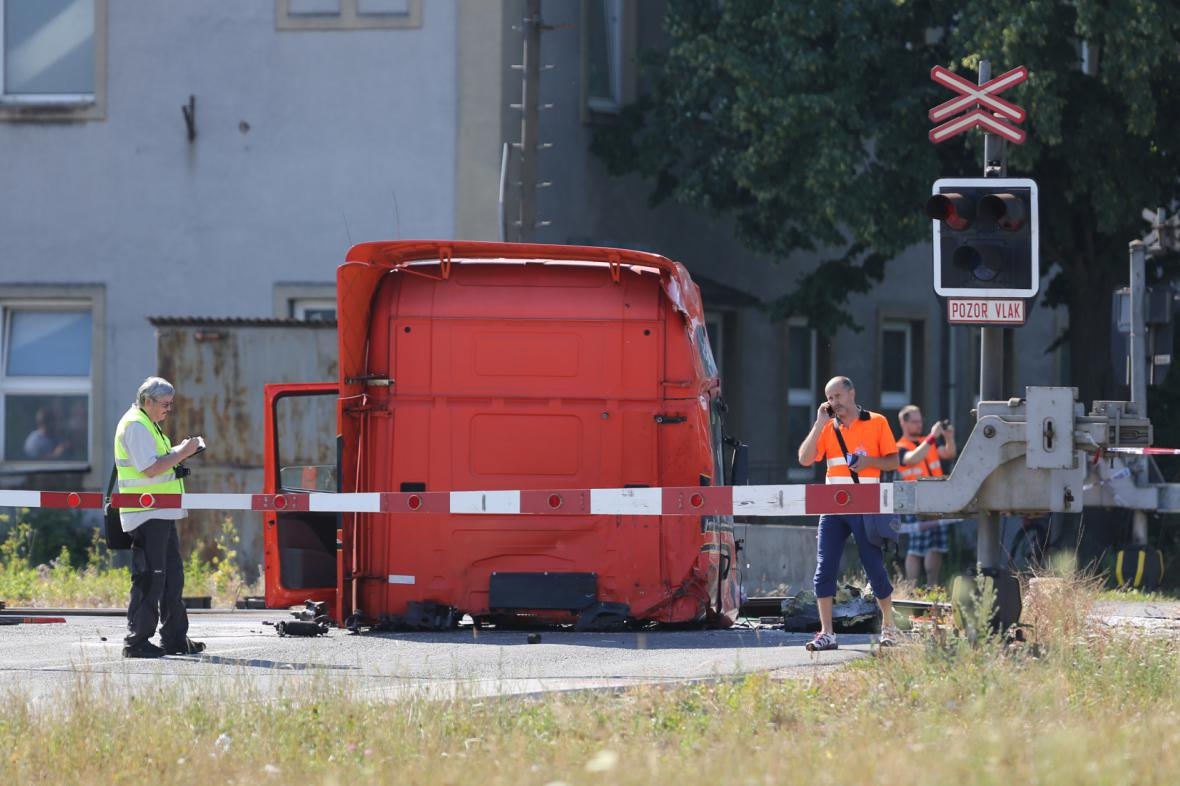 Nehoda kamionu s pendolinem ve Studénce 22. 7. 2015
