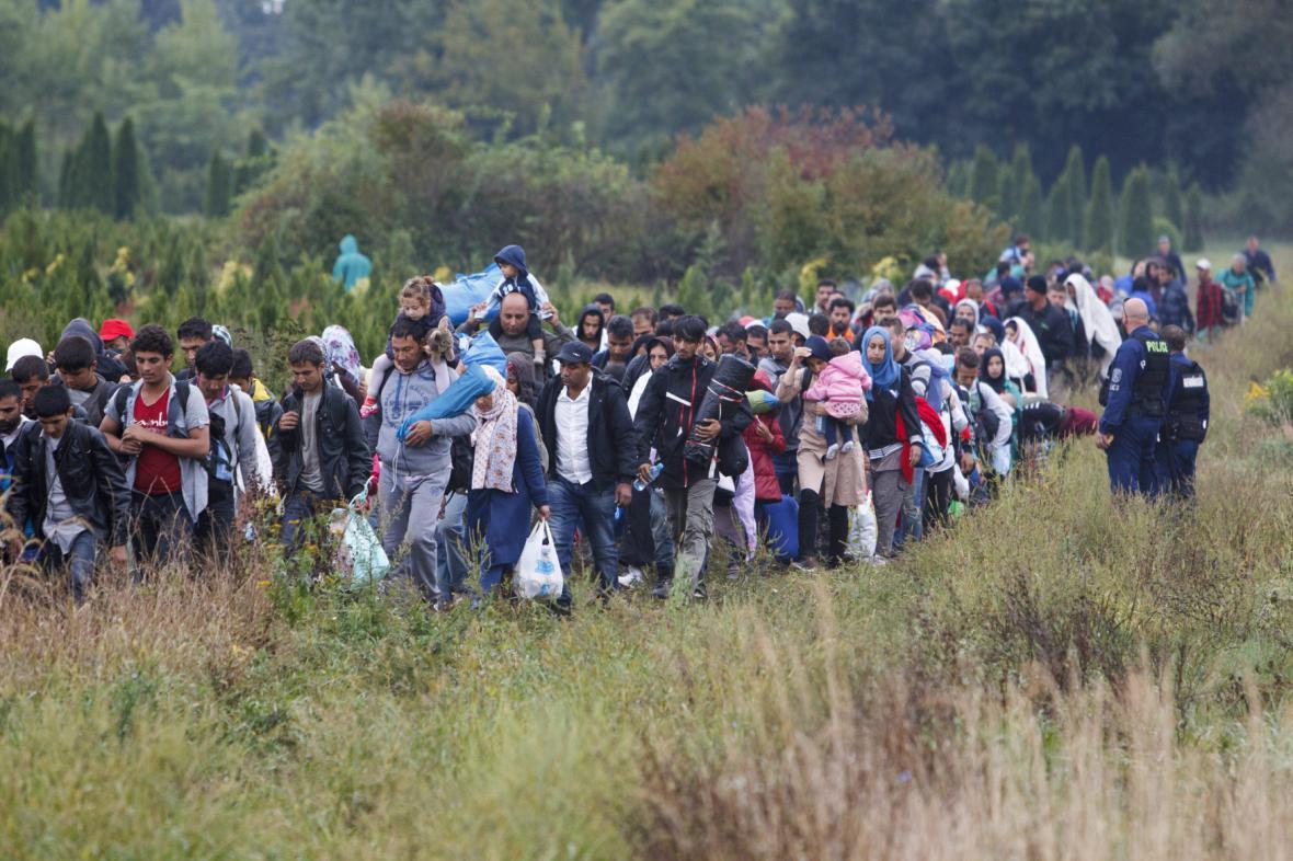 Uprchlíci v blízkosti maďarských hranic