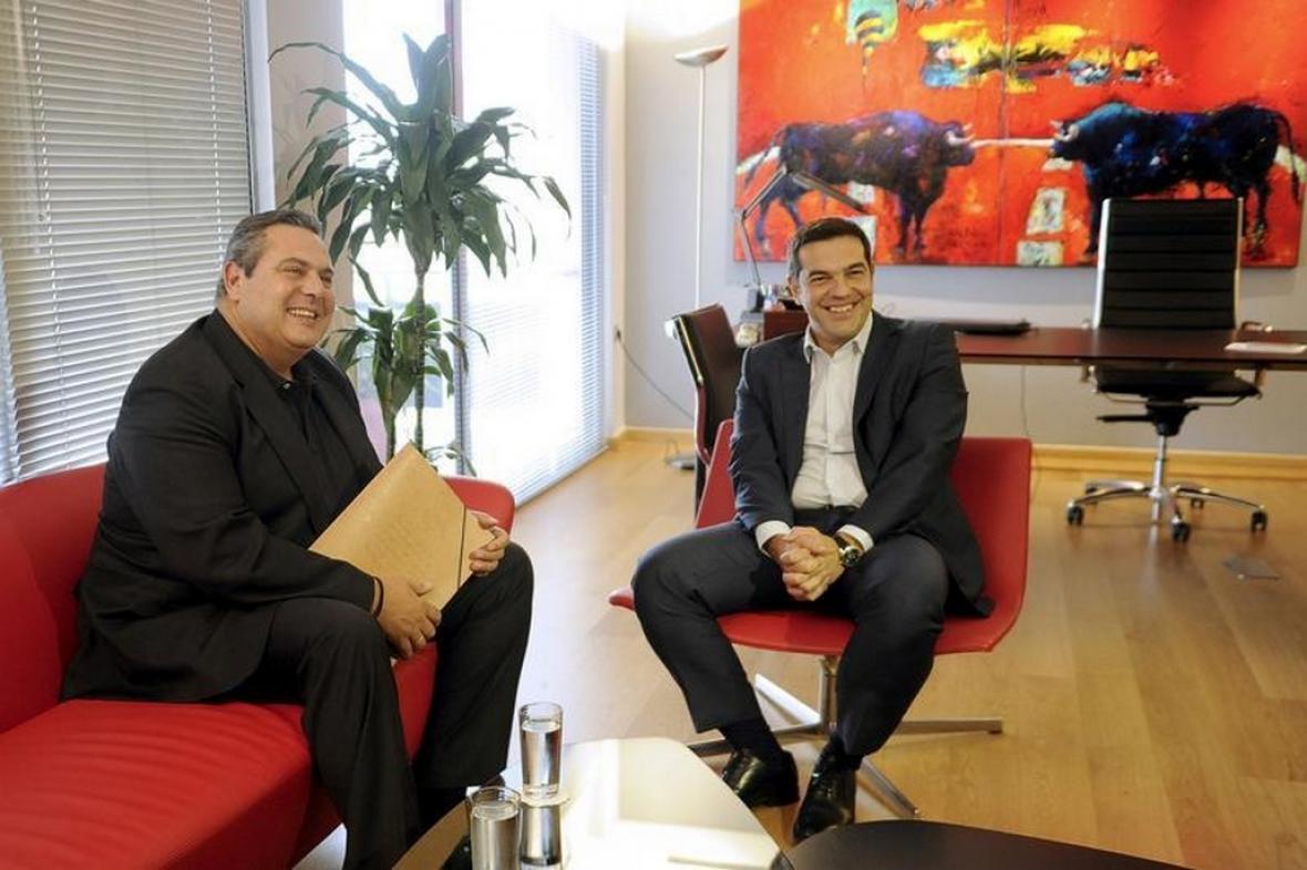 Panos Kammenos a Alexis Tsipras - lídři vytvořené vládní koalice
