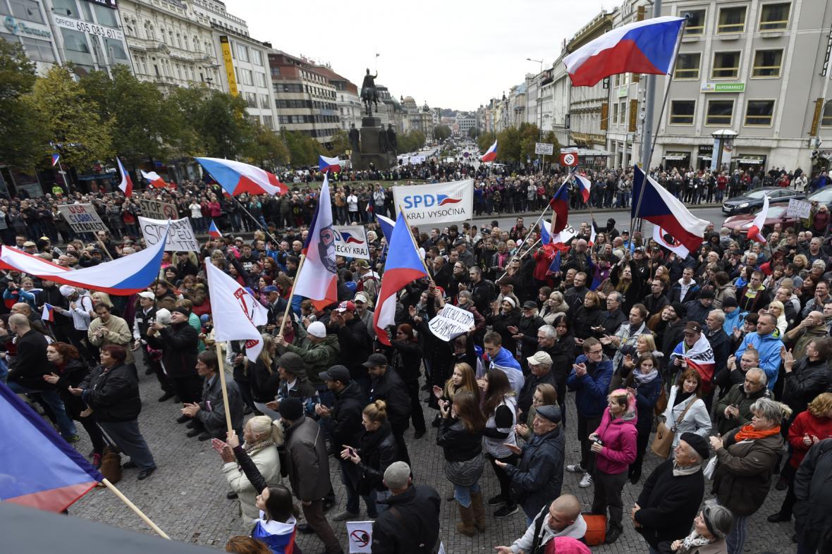 Odpůrci migrantů na Václavském náměstí