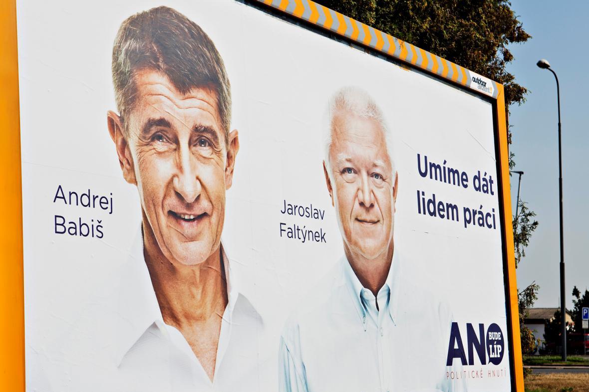 Předvolební billboard Hnutí ANO