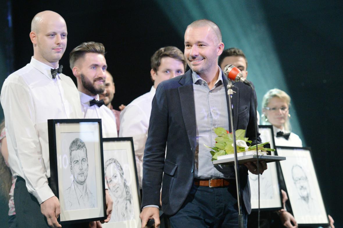 Martin Veselovský při vyhlášení Křišťálové lupy 2015