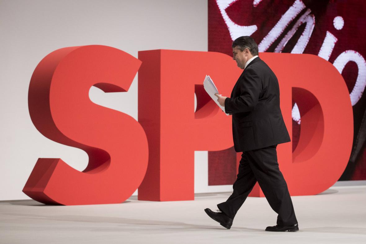 Sigmar Gabriel na stranickém sjezdu SPD