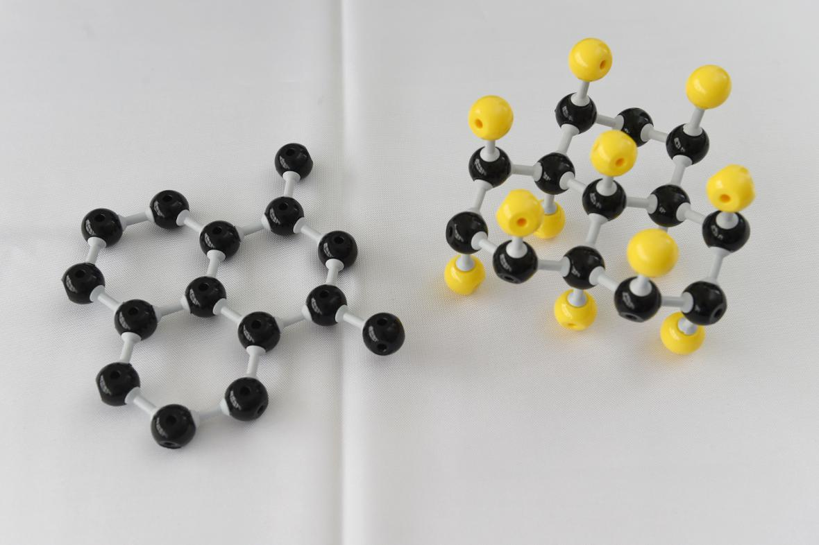 Modely struktury materiálu grafen (vlevo) a fluorografen (vpravo).