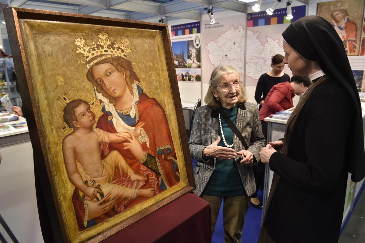 Reprodukce Madony s Veveří na veletrhu cestovního ruchu