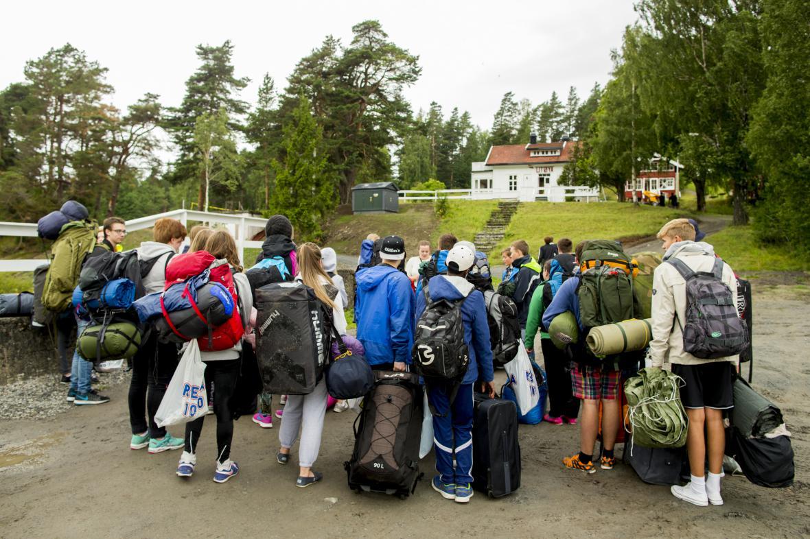 Účastníci tábora na ostrově Utöya