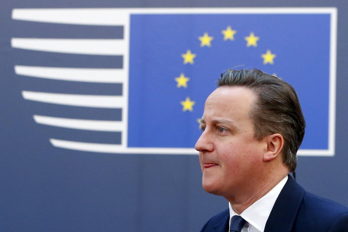 David Cameron během summitu EU