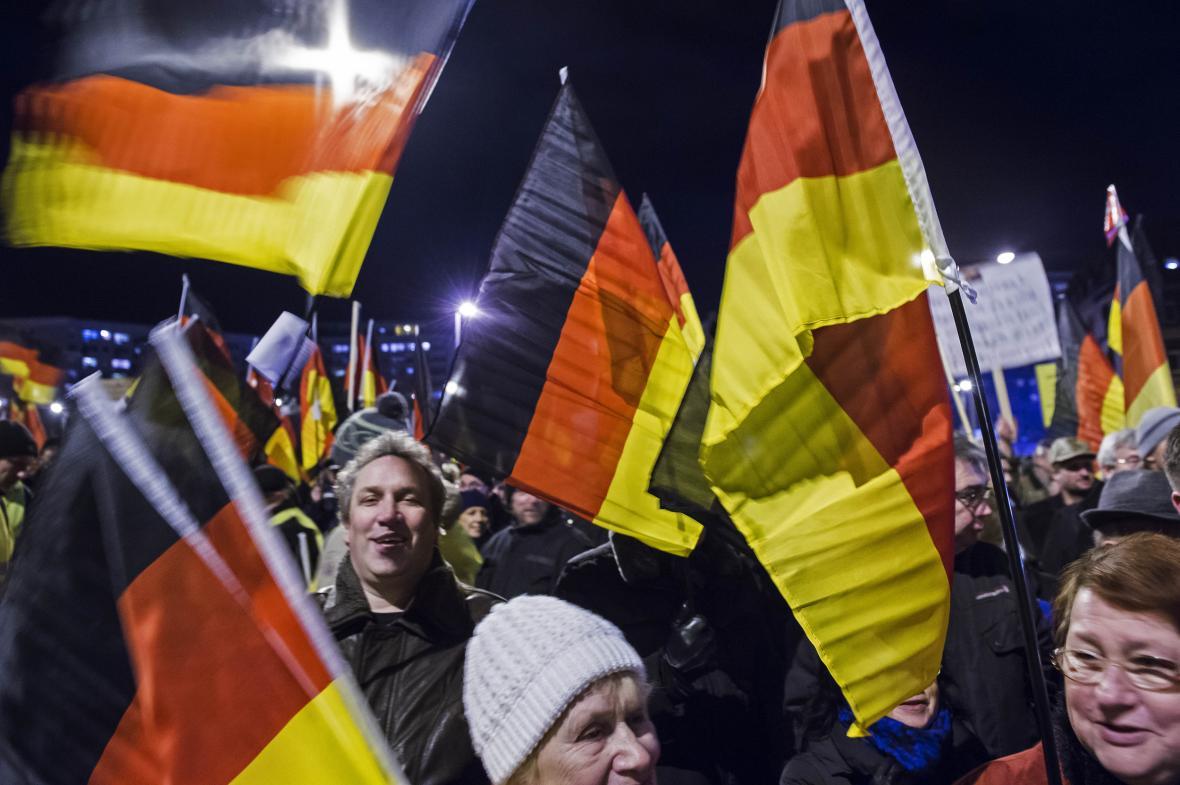 Demonstrace přívrženců AfD v Erfurtu