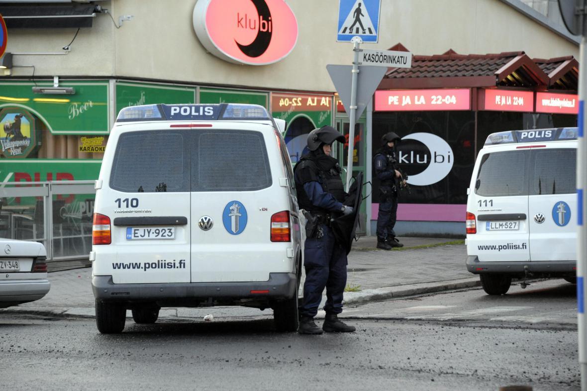 Finská policie v centru Helsinek