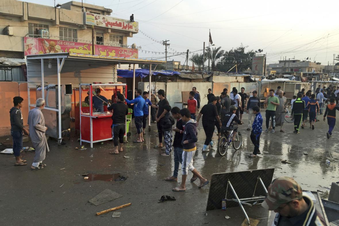 Místo jednoho z atentátu ve čtvrti Sadr