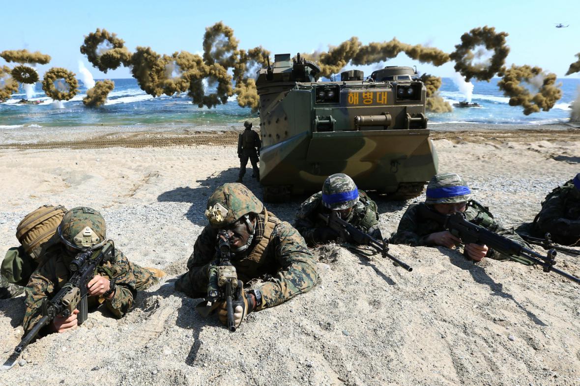 Společné cvičení amerických a jihokorejských jednotek