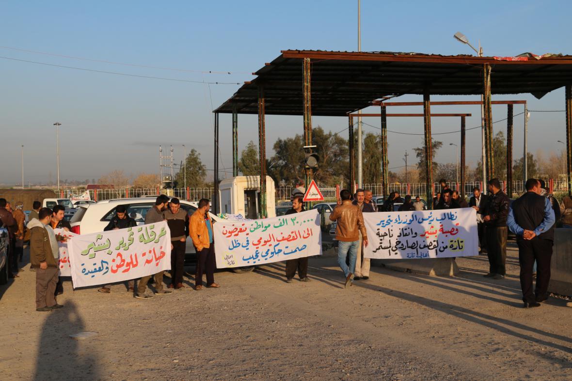 Demonstrace kvůli použití chemických zbraní IS