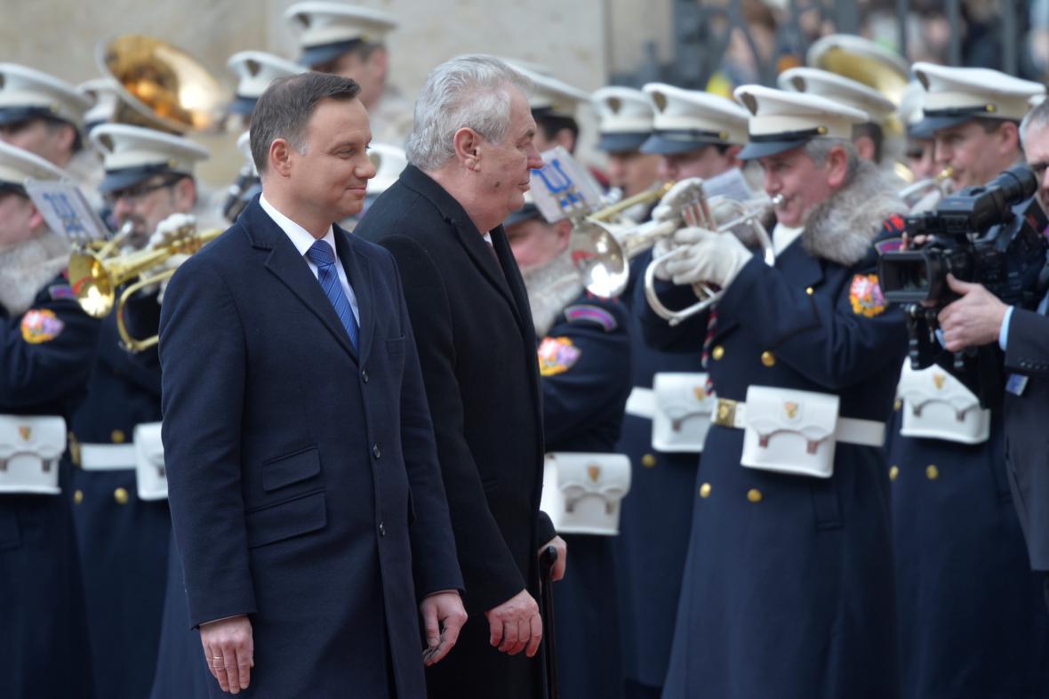 Andrzej Duda a Miloš Zeman na Pražském hradě