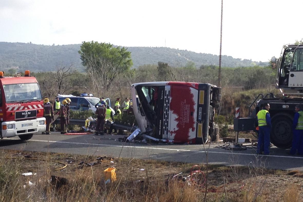 Místo nehody poblíž Tarragony