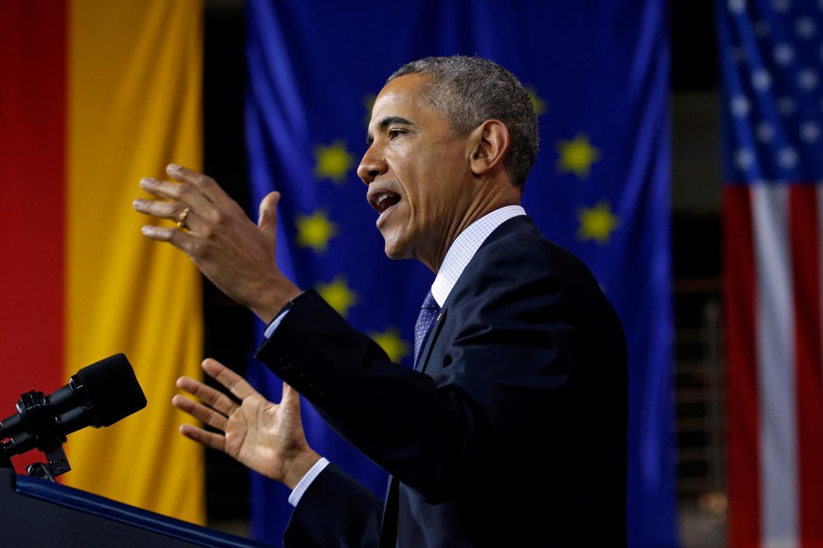 Obama při projevu v německém Hannoveru