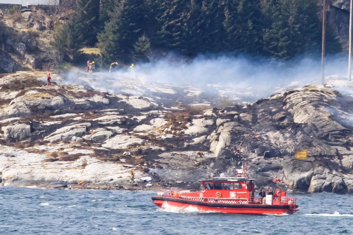 Místo havárie norského vrtulníku