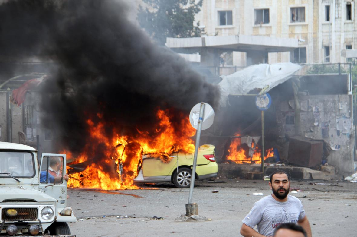 Následky útoku islamistů v syrském městě Tartús