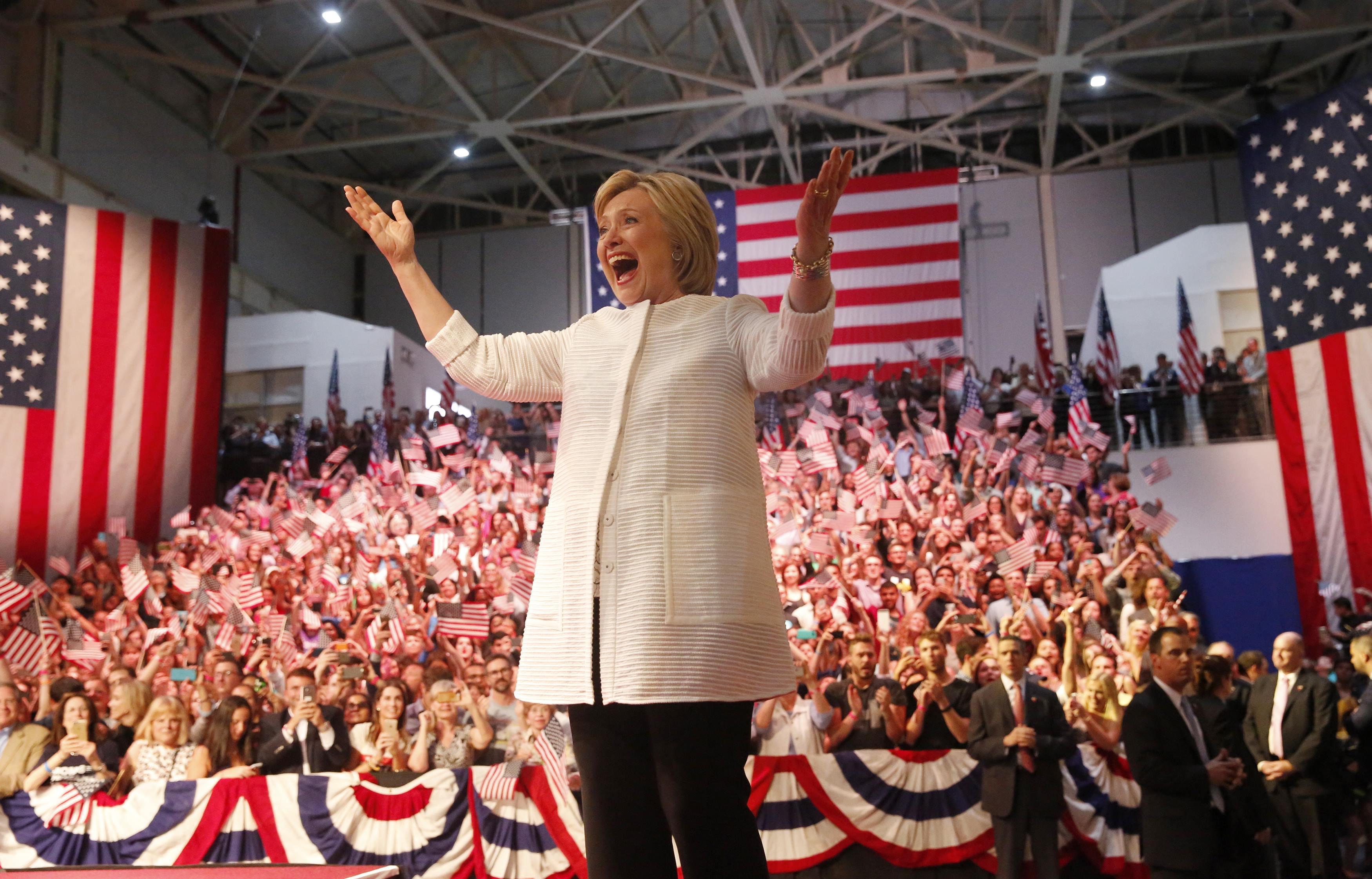 Hillary Clintonová na shromáždění v newyorském Brooklynu