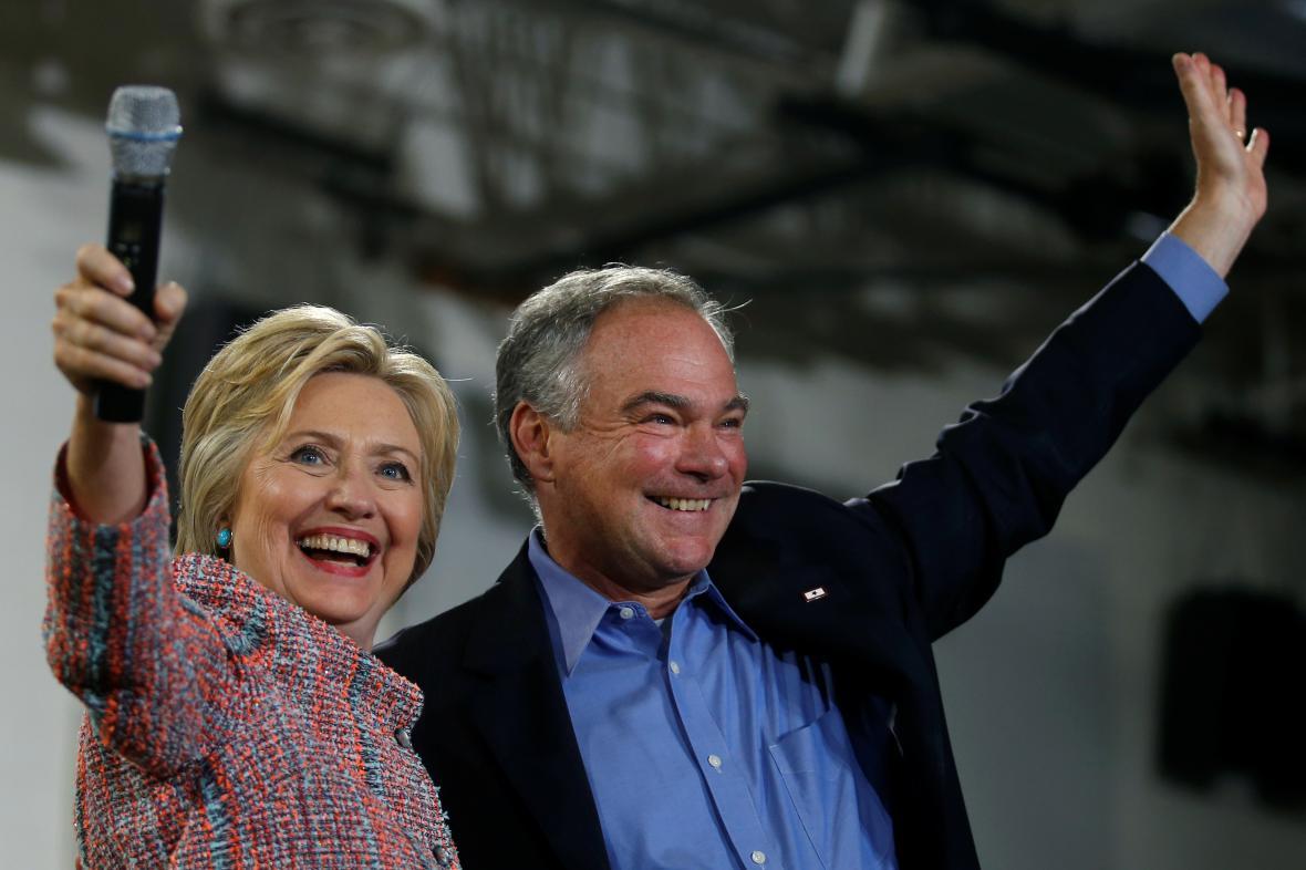 Hillary Clintonová a Tim Kaine