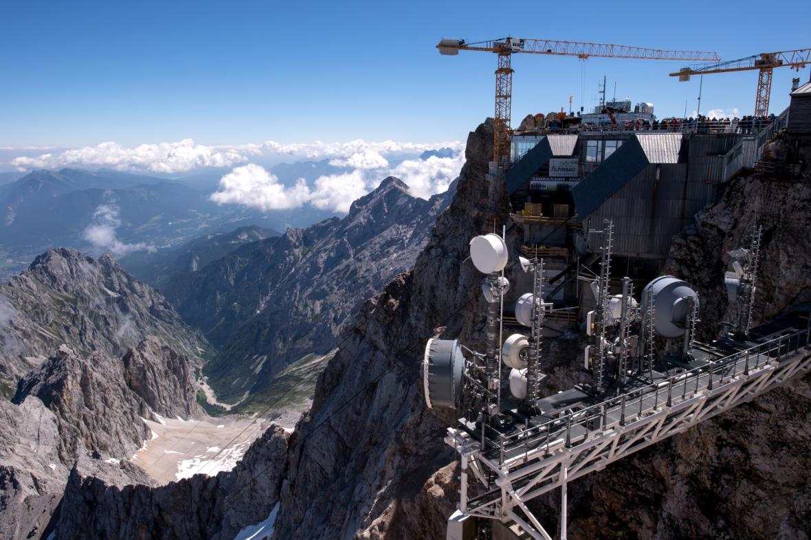 Staveniště na vrcholu Zugspitze