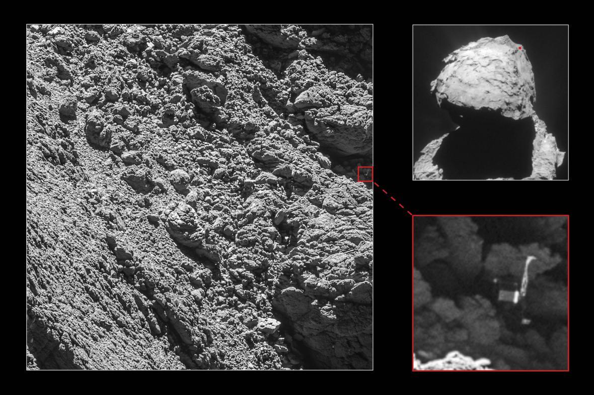 Rosetta vyfotila robota Philae na povrcku komety