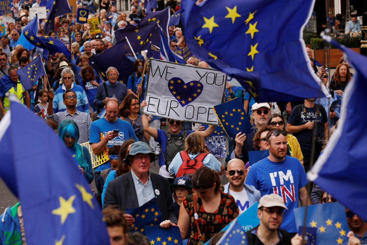 Proevropská demonstrace v Londýně
