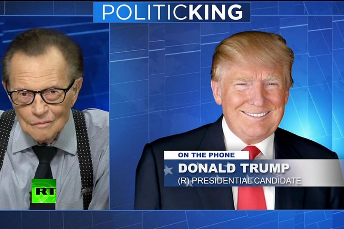 Donald Trump vystoupil v pořadu Larryho Kinga na RT