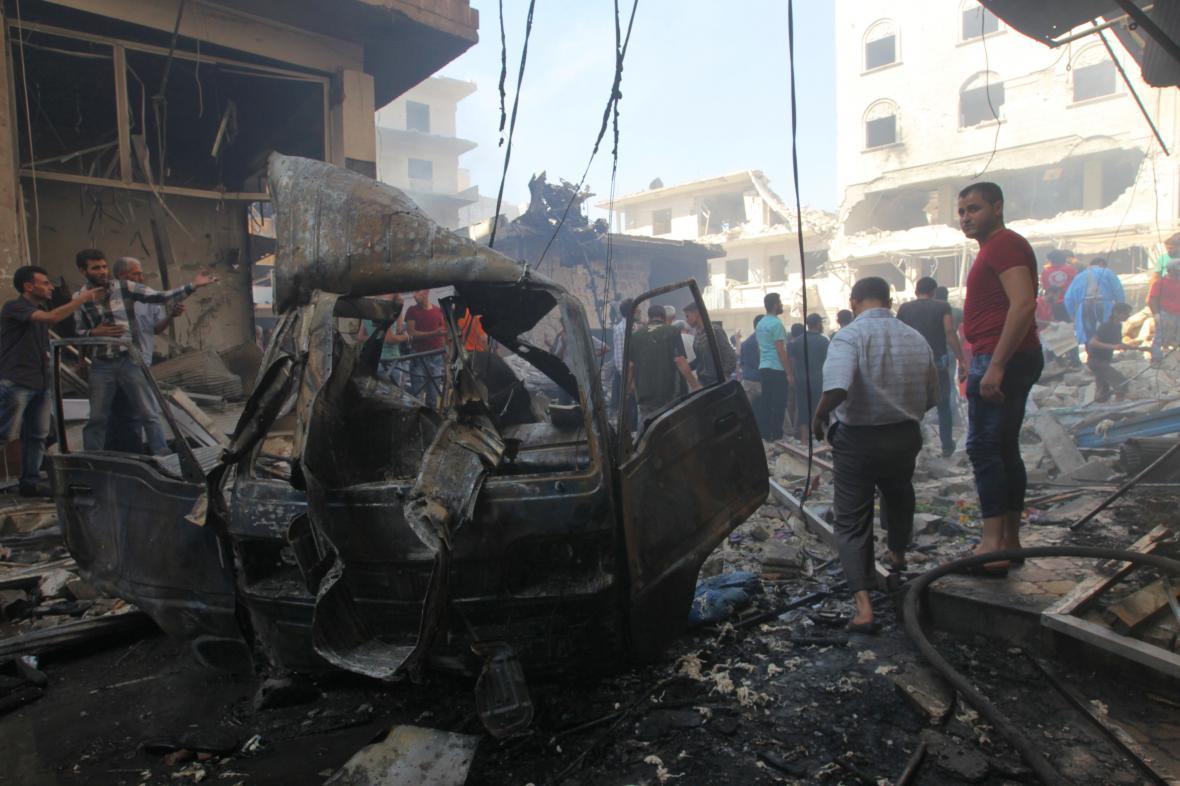 Město Idlib po náletech