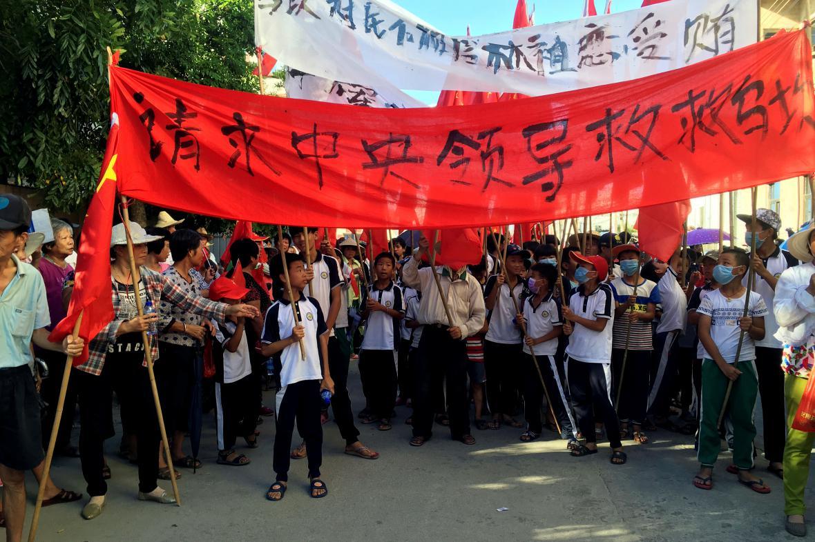 Protesty v čínské vesnici Wu-kchan