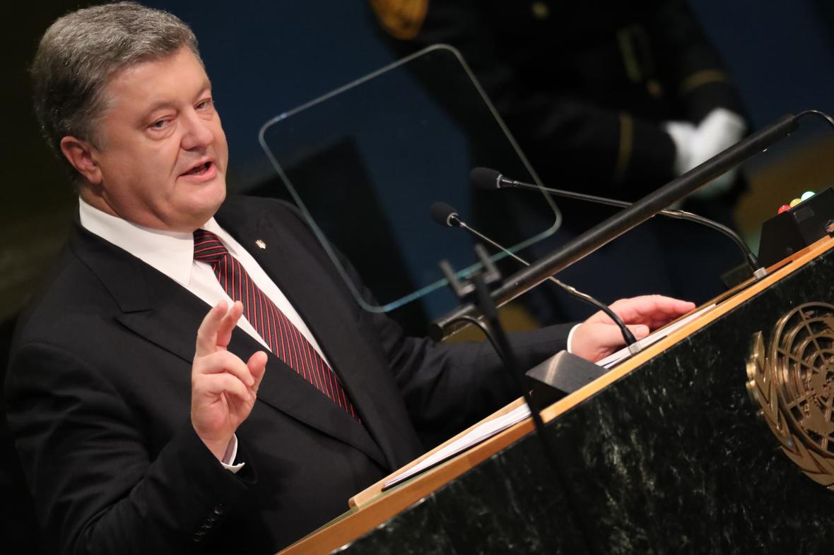 Petro Porošenko při projevu před Valným shromážděním OSN