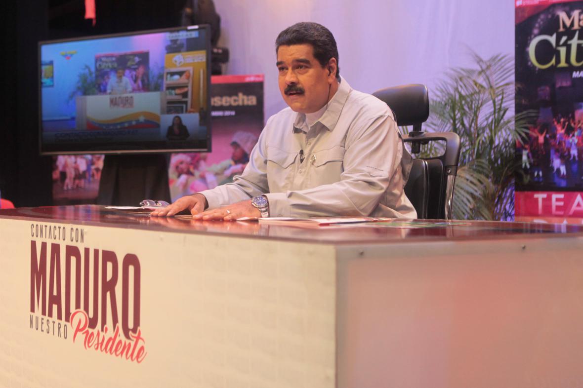 Nicolas Madúro při televizním projevu