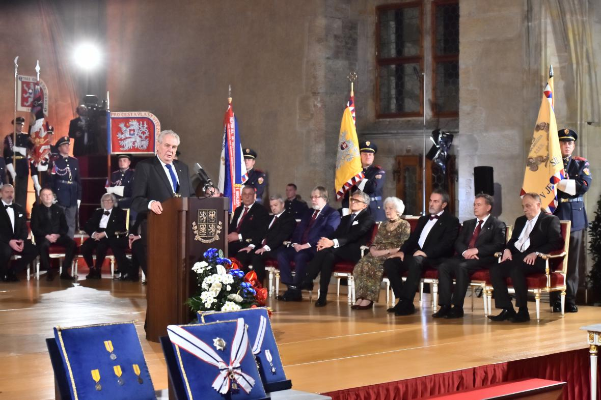 Projev Miloše Zemana při příležitosti udílení státních vyznamenání