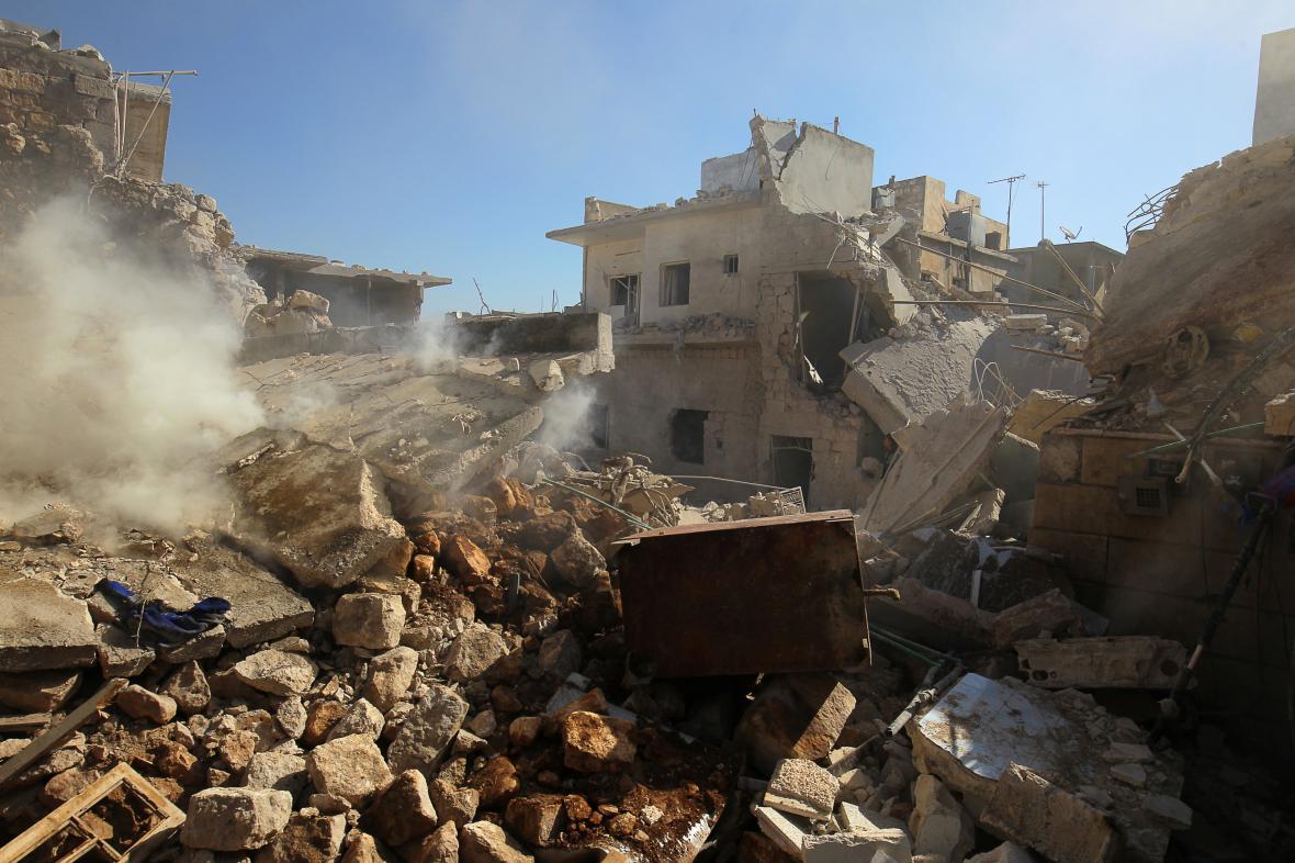 Město Darat Izza v provincii Aleppo po náletu