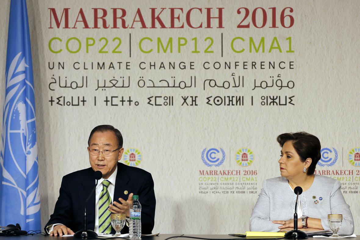 Generální tajemník OSN Pan Ki-mun na konferenci v Maroku