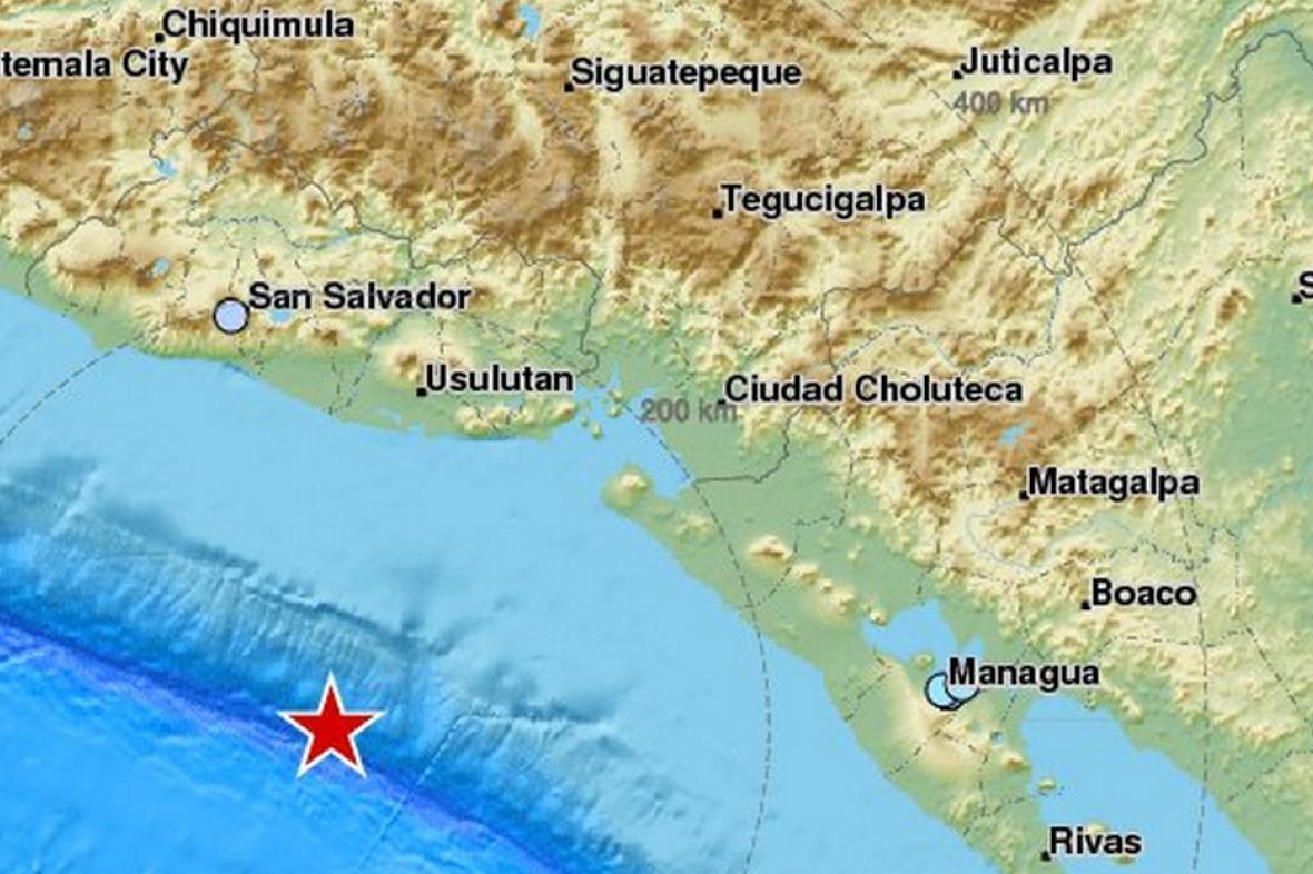 Zemětřesení v blízkosti pobřeží Salvatoru