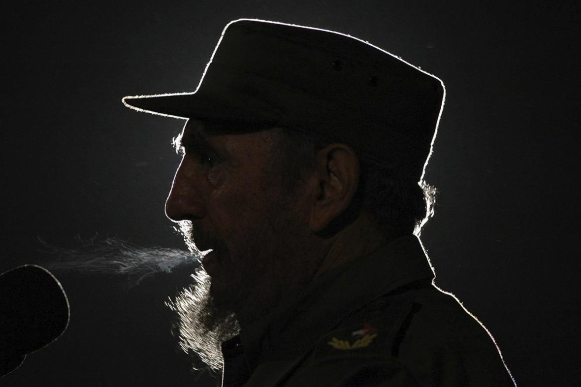 Fidel Castro při jednom z mnoha projevů