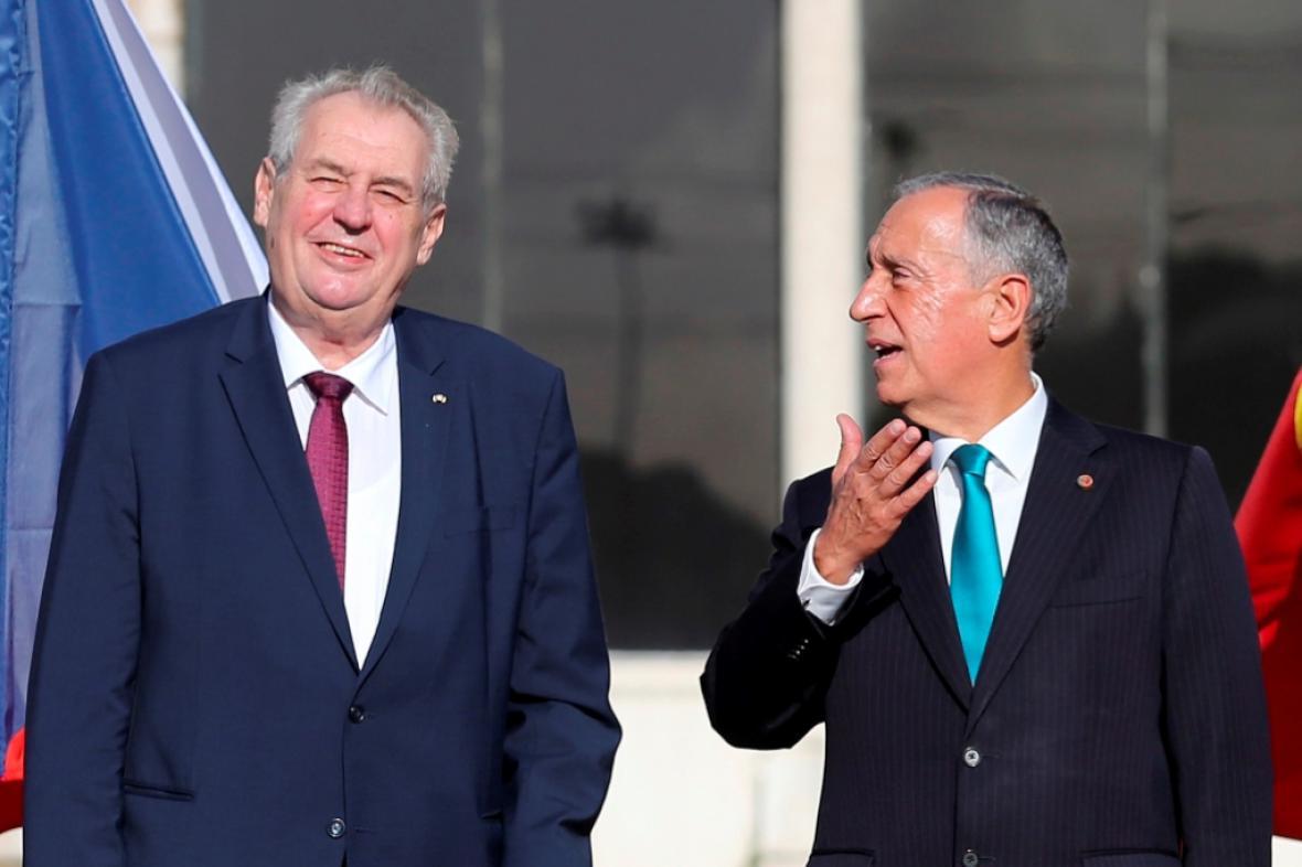 Miloš Zeman a portugalský prezident Marcelo Rebelo de Sousa