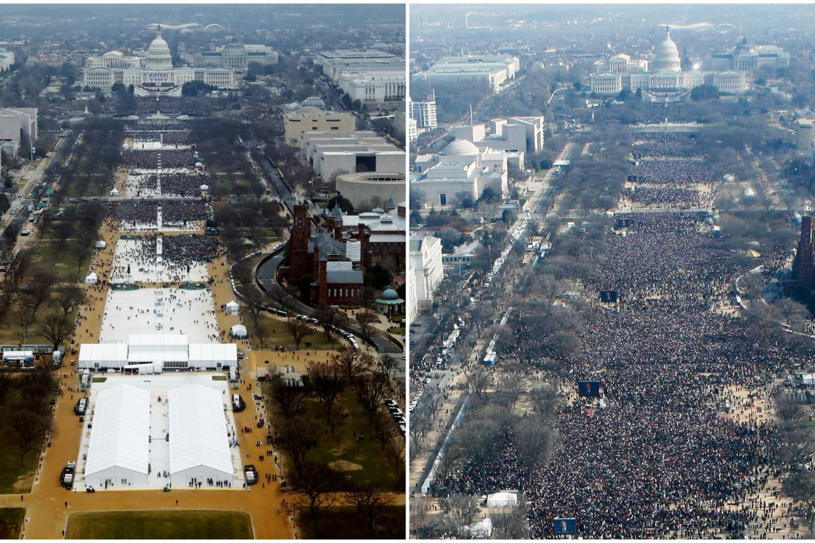 Srovnání účasti na inauguracích Trumpa (vlevo) a Obamy