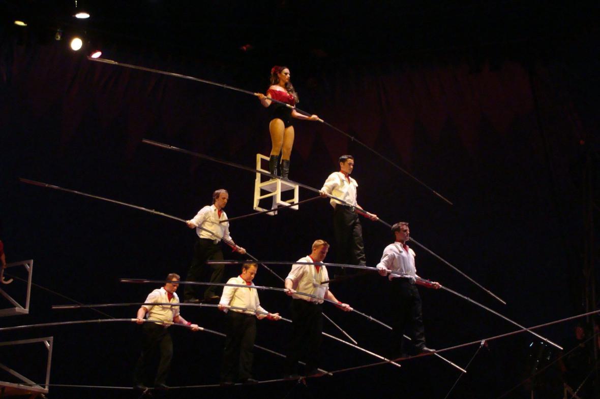 Wallendova skupina na laně