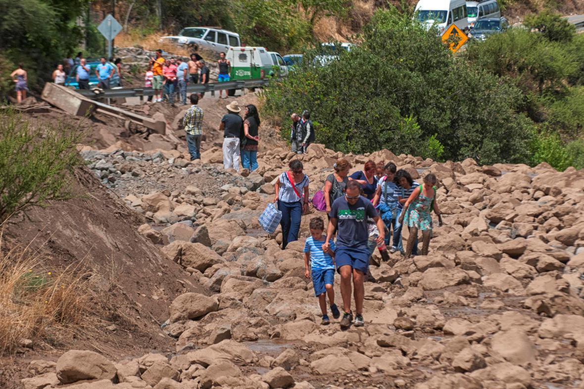 Následky záplav v chilském hlavním městě