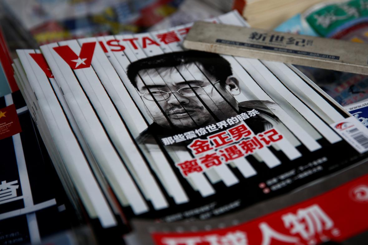 Čínský magazín s portrétem Kim Čong-nama